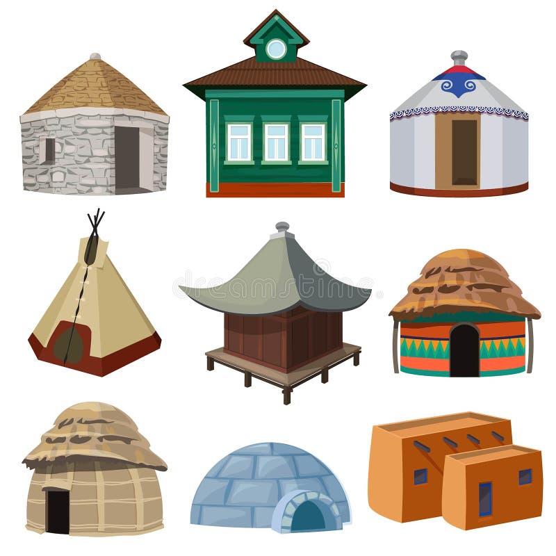 Traditionella byggnader och små hus av olika nationer för värld vektor illustrationer