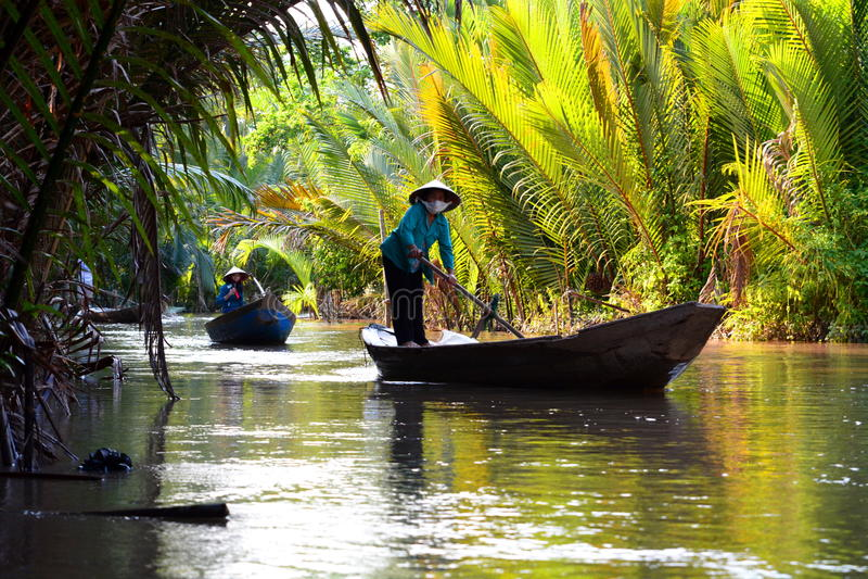 Traditionella fartyg Ben Tre Mekong deltaregion vietnam royaltyfria bilder