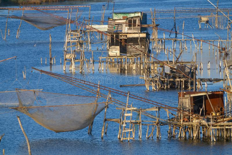 Traditionella fisknät i Montenegro royaltyfria bilder