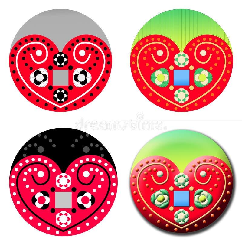 Traditionella Folk Art Heart royaltyfri illustrationer
