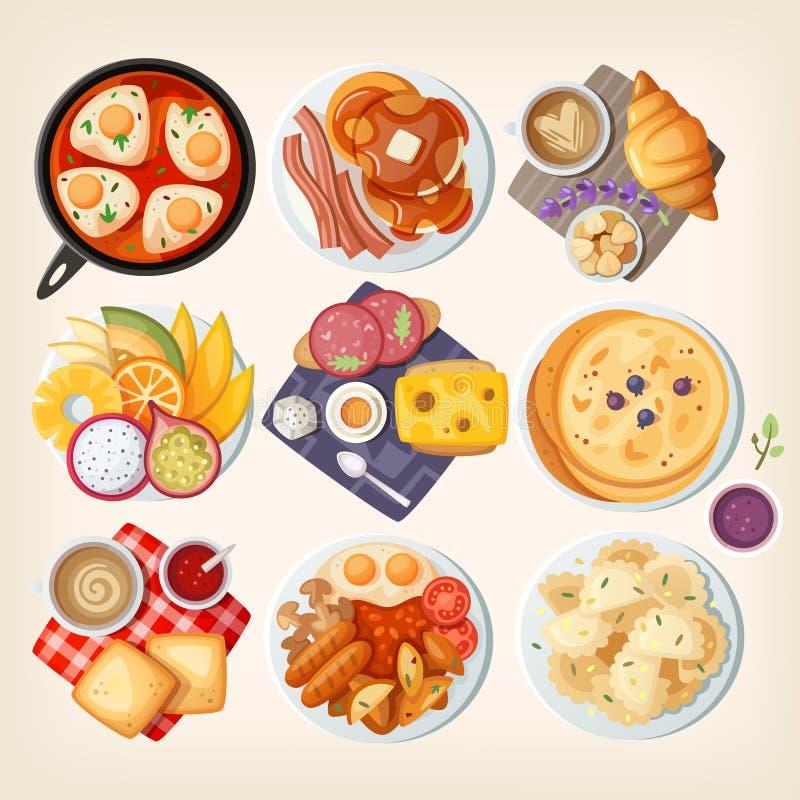 Traditionella frukostar över hela världen stock illustrationer