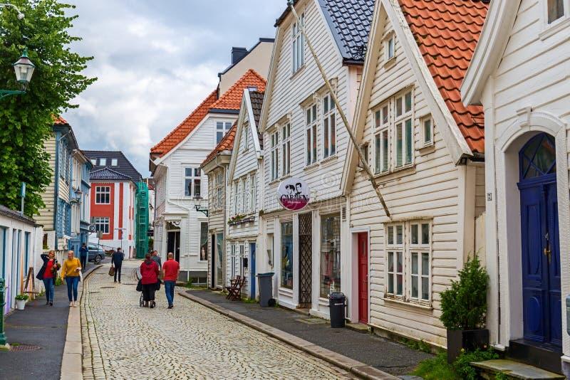 Traditionella hus i Bergen, Norge royaltyfria bilder
