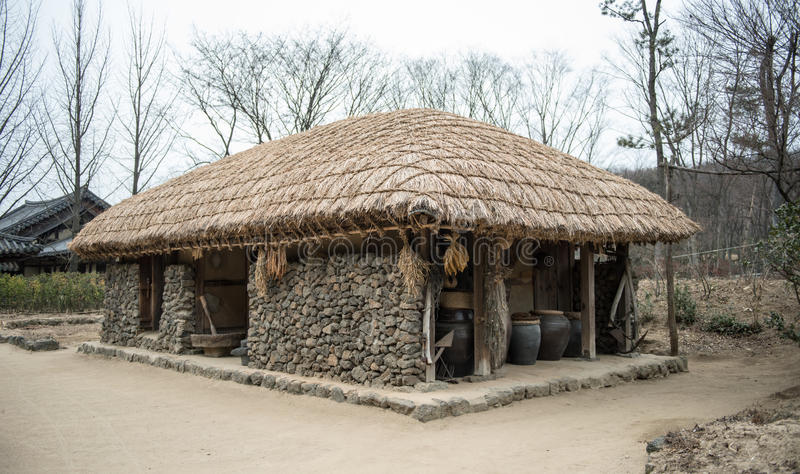 Traditionella hus i Korea arkivfoton