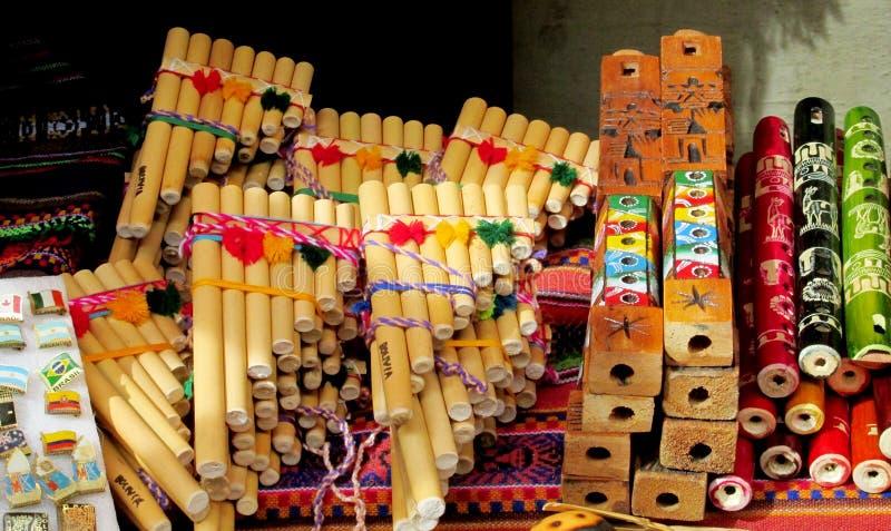 Traditionella instrument för Panpipes för söder - amerikansk musik arkivbild