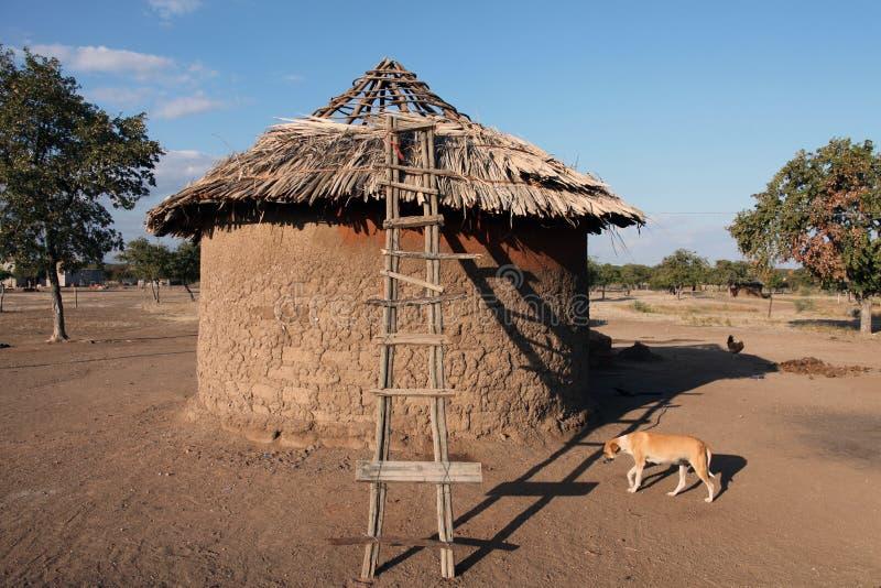 Traditionella invånare för rundakojaby i Botswana arkivfoto
