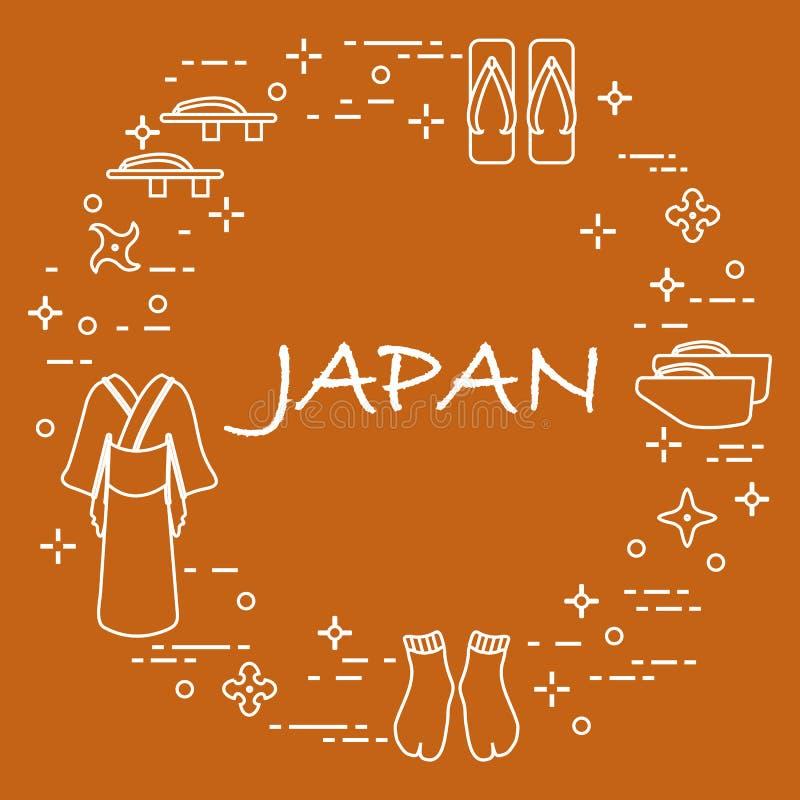 Traditionella japanska kläder, skor och shurikens stock illustrationer