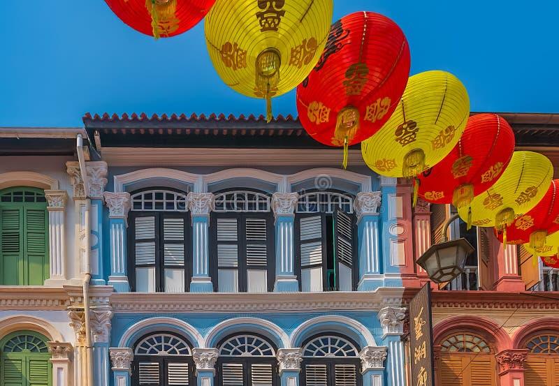 Traditionella kineskvarterhus i Singapore royaltyfria foton