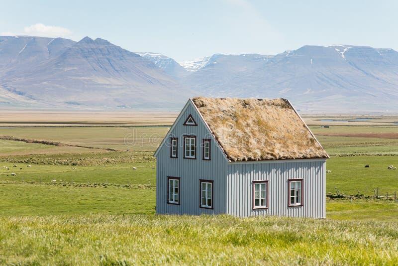 Traditionella lantliga torvahus i Island arkivbilder
