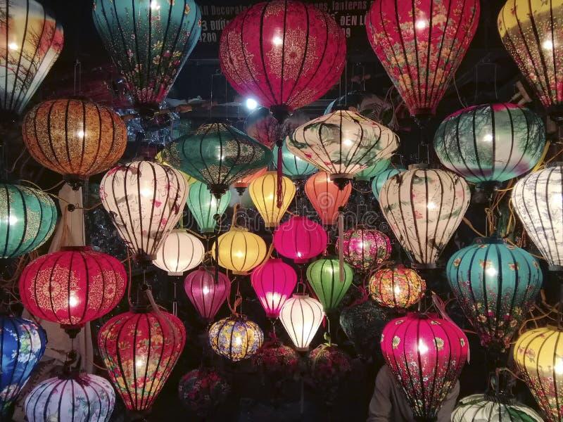 Traditionella lyktor på Hoi An, staden är UNESCOvärldsarvet, Vietnam arkivbilder