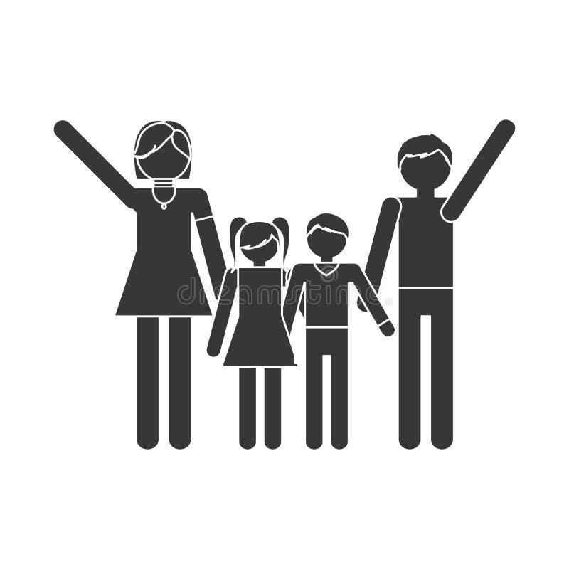 traditionella medlemmar för konturfamilj tillsammans vektor illustrationer