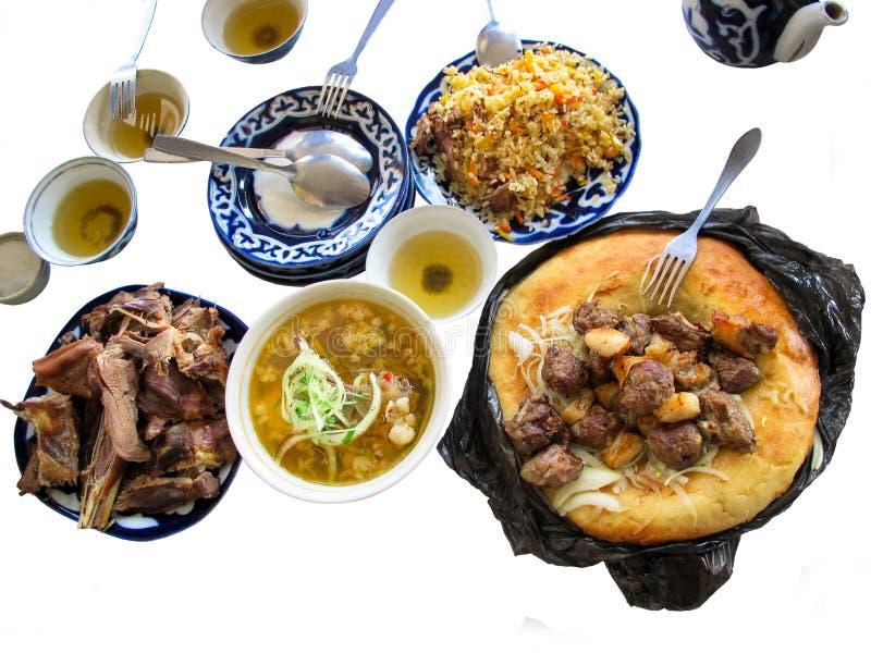 Traditionella noterbara disk och foods av centrala Asien, royaltyfria bilder