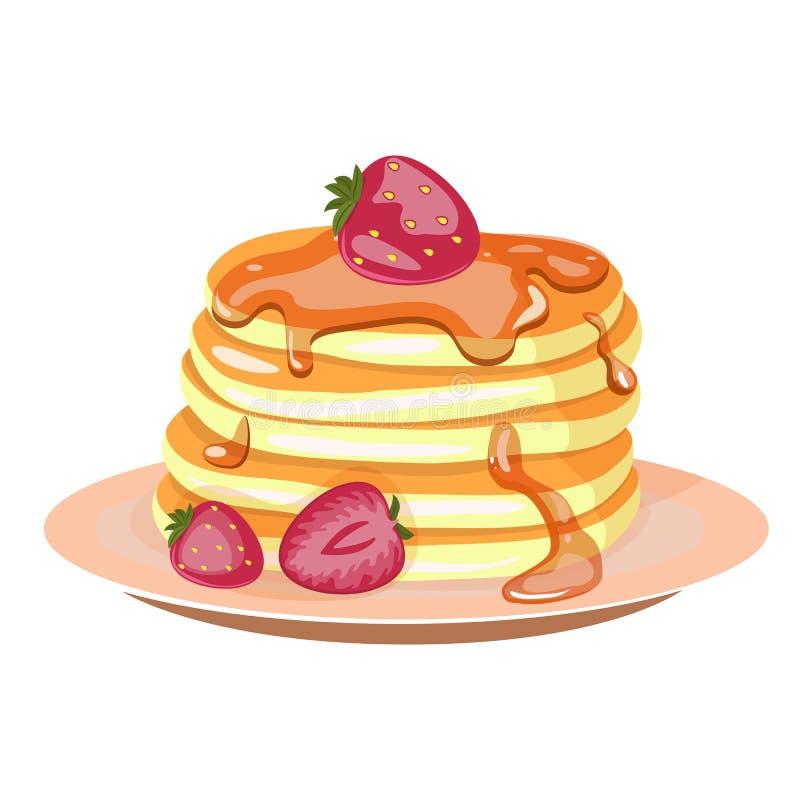 Traditionella pannkakor med jordgubbar, lönnsirap och piskad kräm stock illustrationer