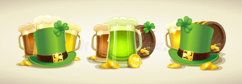 Traditionella Patricks uppsättningen för dagbeståndsdelar, trollhatten, öl rånar, öltrumman, mynt, växt av släktet Trifoliumblad vektor illustrationer