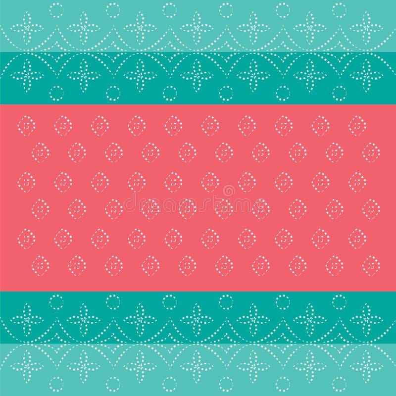 Traditionella rosa färger för kricka för blått för gräsplan för bakgrund för indierBandhani modell vektor illustrationer