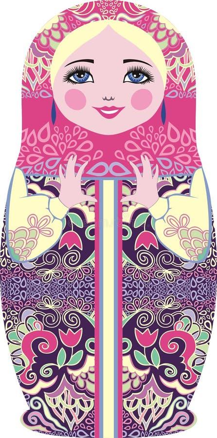Traditionella ryska dockor för matryoshka (matrioshka), i nationell stildräkt stock illustrationer