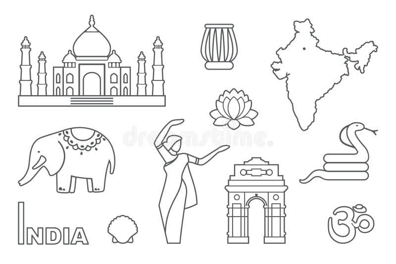 Traditionella symboler av Indien Kontursymboler royaltyfri illustrationer