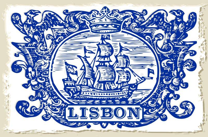 Traditionella tegelplattor Azulejos Lissabon - Portugal stock illustrationer