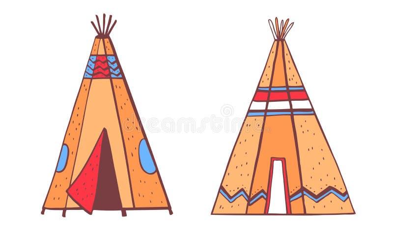 Traditionella tipies för indianindier Två färgvigvam Klottret för översikten för vektorhanden skissar det utdragna illustrationen stock illustrationer