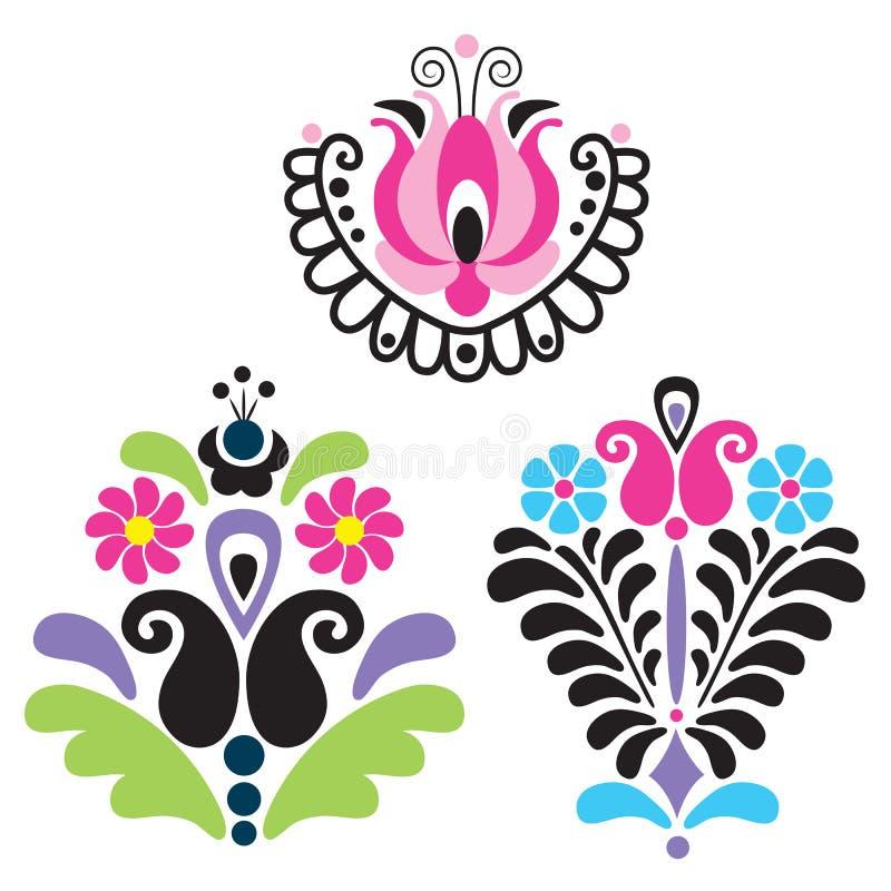 Traditionella ungerska vektorbevekelsegrunder royaltyfri illustrationer