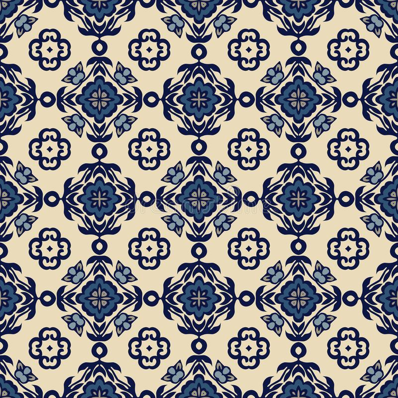 Traditionella utsmyckade dekorativa tegelplattaazulejos modell texturerad traditionell vektortappning abstrakt bakgrund stock illustrationer