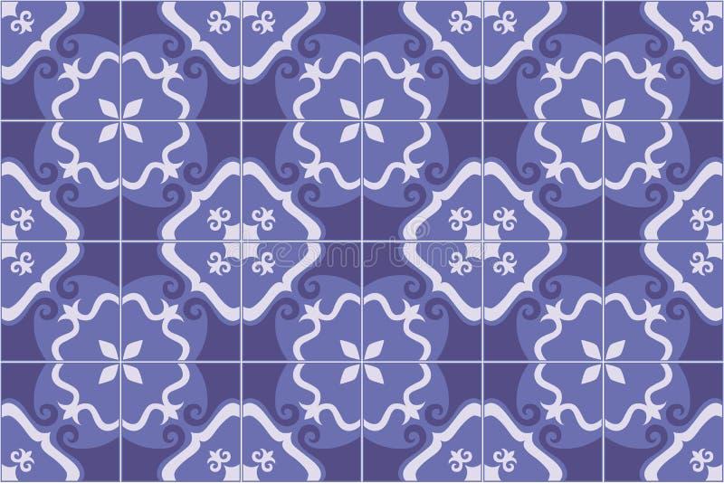 Traditionella utsmyckade portugis- och brasiliantegelplattaazulejos i blått också vektor för coreldrawillustration vektor illustrationer