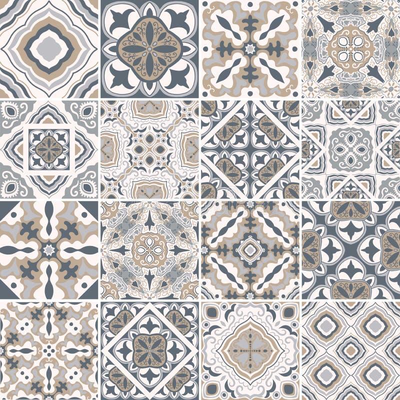 Traditionella utsmyckade portugisiska dekorativa tegelplattaazulejos abstrakt bakgrund Dragen illustration för vektor som hand är stock illustrationer