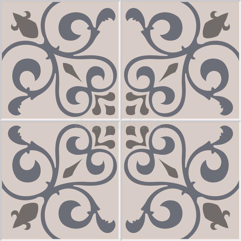 Traditionella utsmyckade portugisiska dekorativa tegelplattaazulejos modell texturerad traditionell vektortappning stock illustrationer