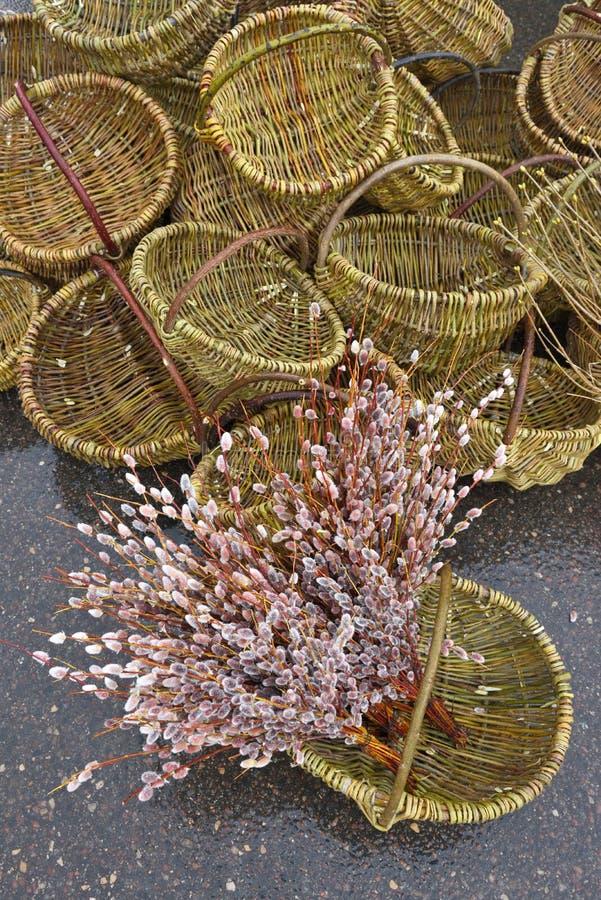 Traditionella virvlade korgar royaltyfria foton
