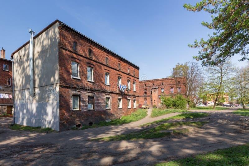 Traditionelle alte Backsteinhäuser in Zabrze stockfotografie