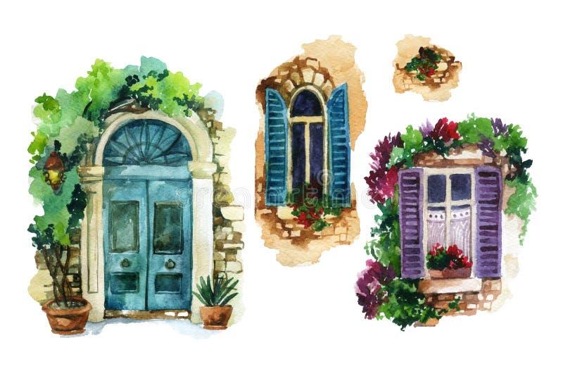 Traditionelle altmodische Tür und Fenster des Aquarells mit eingemachten Blumen, Ziegelsteinsteine, Laterne stock abbildung