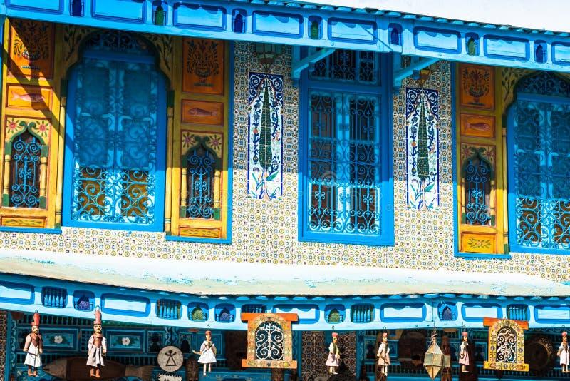 Traditionelle arabische Architektur in EL-Jem, Tunesien lizenzfreie stockfotos
