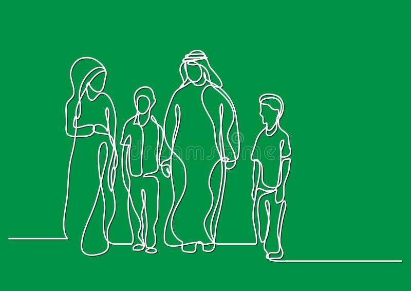 Traditionelle arabische Familie - Federzeichnung der einzelnen Zeile lizenzfreie abbildung