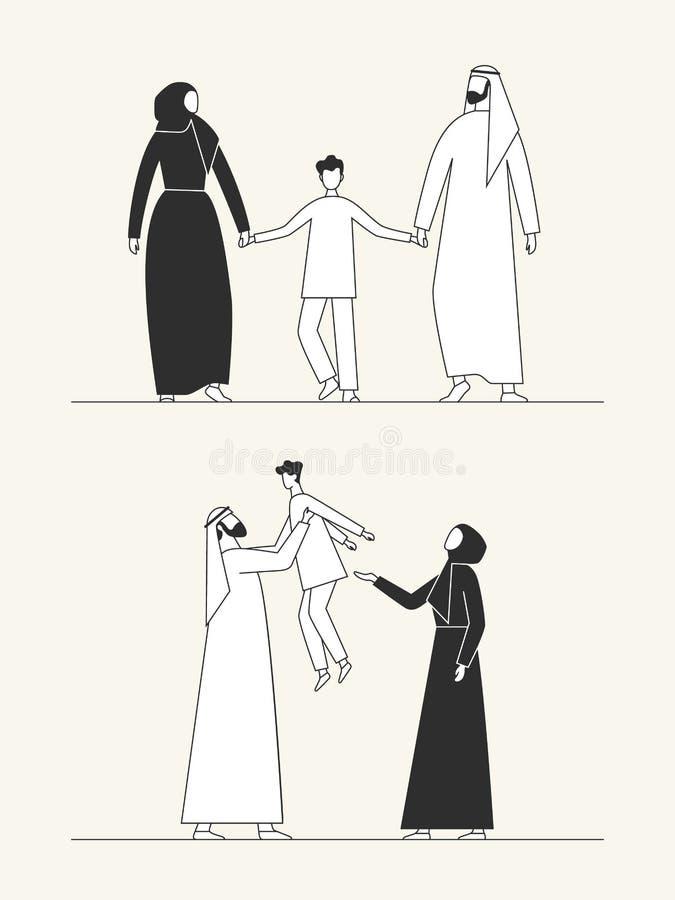 Traditionelle arabische Familie, moslemische Kultur Mann, Frau und Kind Flache Illustration stockbilder