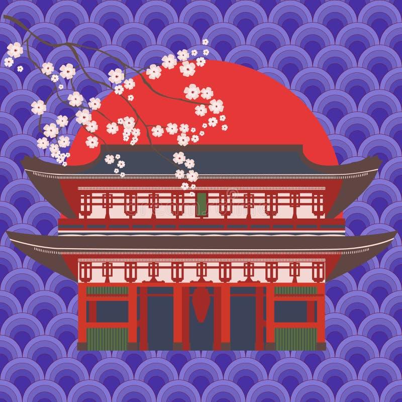 Traditionelle asiatische Bau- und Kirschblütenniederlassung auf dem Hintergrund der orientalischen Verzierung Lokalisierter Vekto vektor abbildung