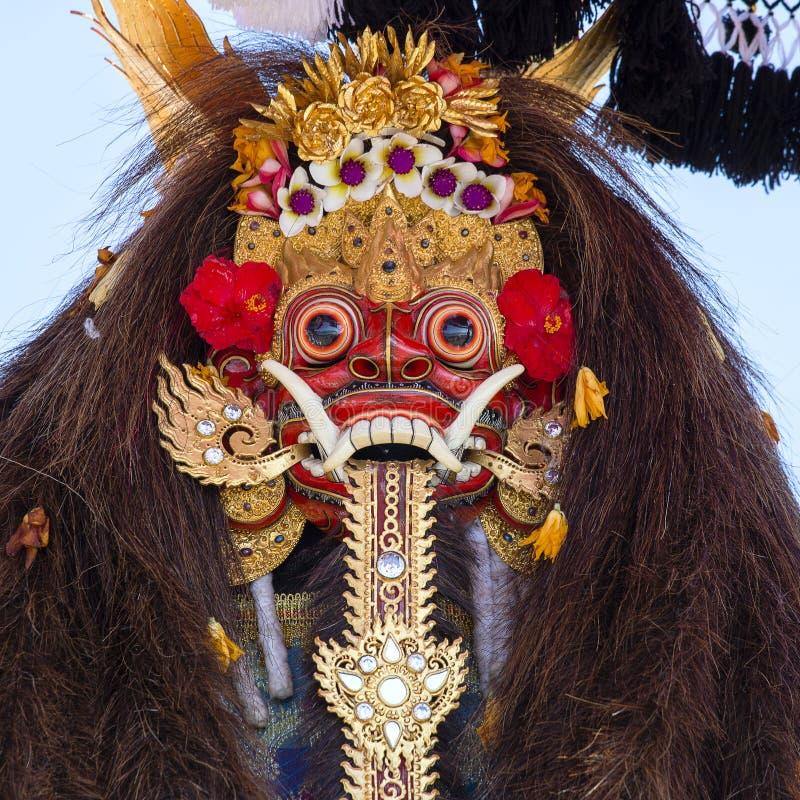 Traditionelle Balinese Barong-Maske auf Straßenzeremonie in der Insel Bali, Indonesien stockfotografie