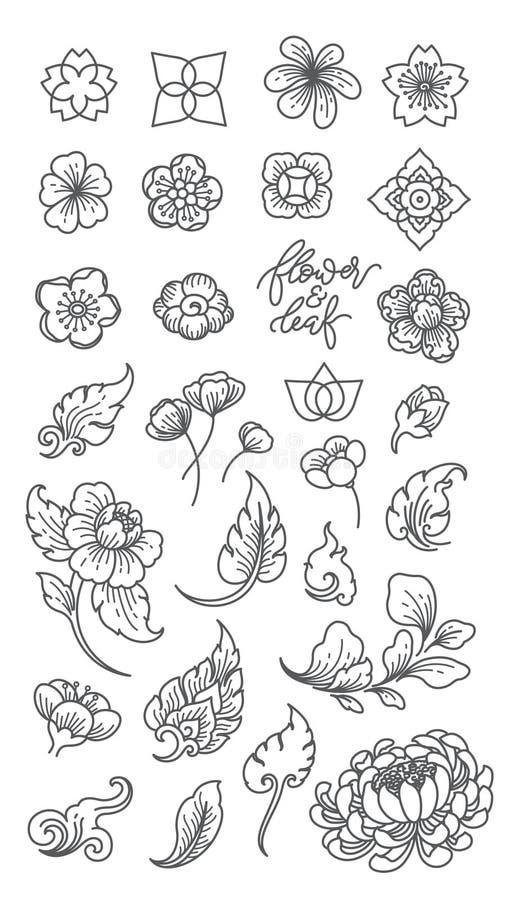 Traditionelle Blumen- und Blattlinie Ikonen lokalisiert asien japanisch siamesisch chinesisch lizenzfreie abbildung