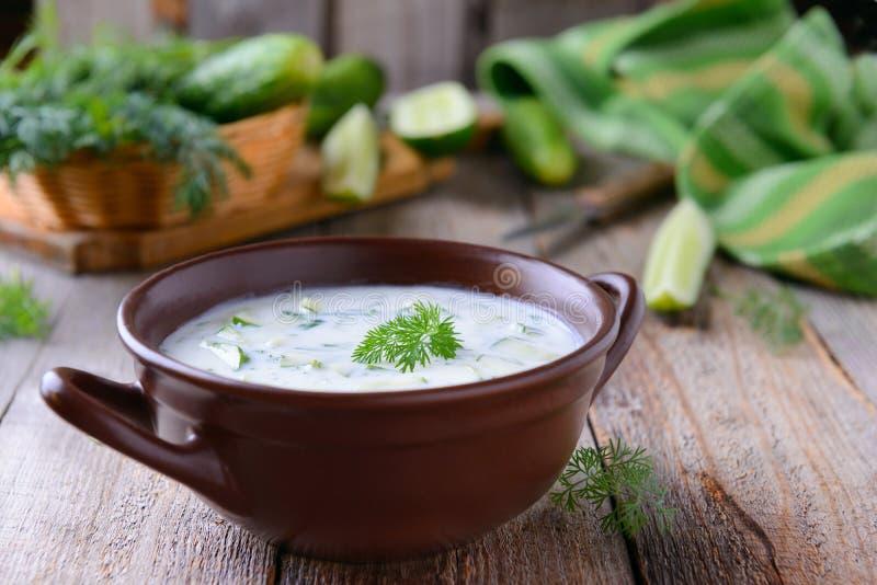Traditionelle bulgarische kalte Suppe mit Gurken, Dill und Jogurt stockbild