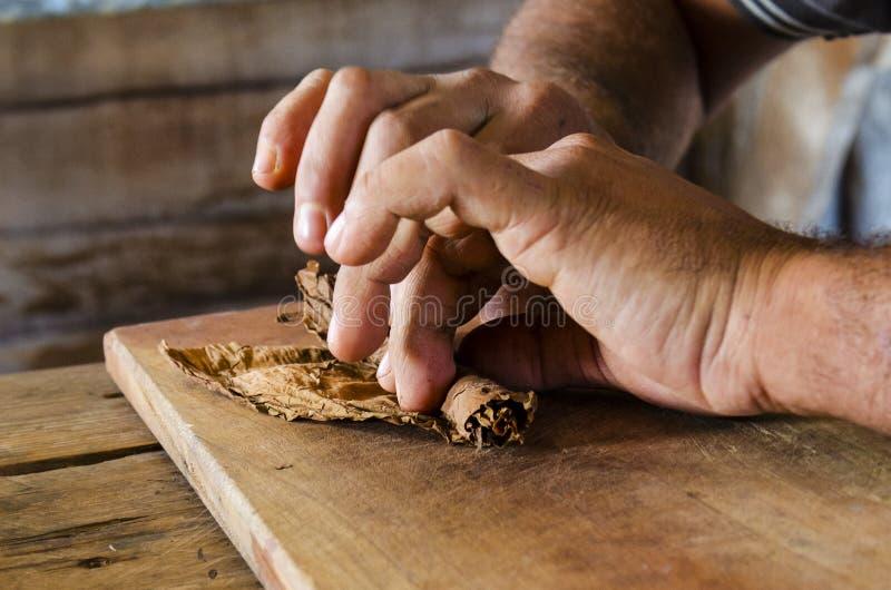 Traditionelle Fertigung von kubanischen Zigarren bei Kuba stockbilder