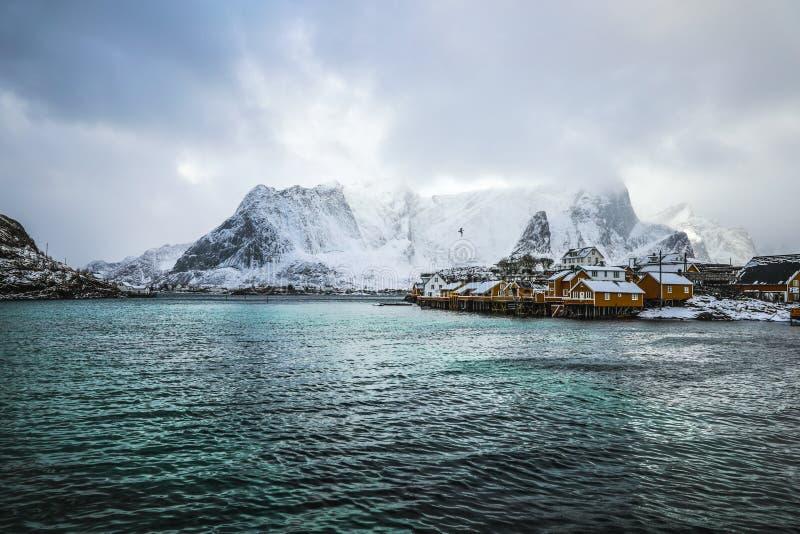 Traditionelle Fischenregelungen von Lofoten-Inseln Schöne Norwegen-Landschaft und alte Architektur stockbilder