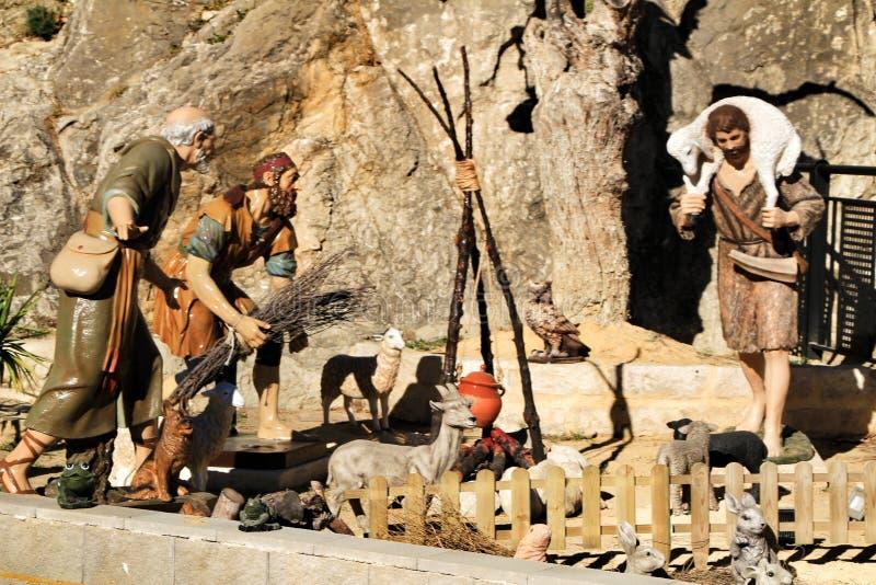 Traditionelle Geburt Christis-Zahlen in Jijona stockbilder