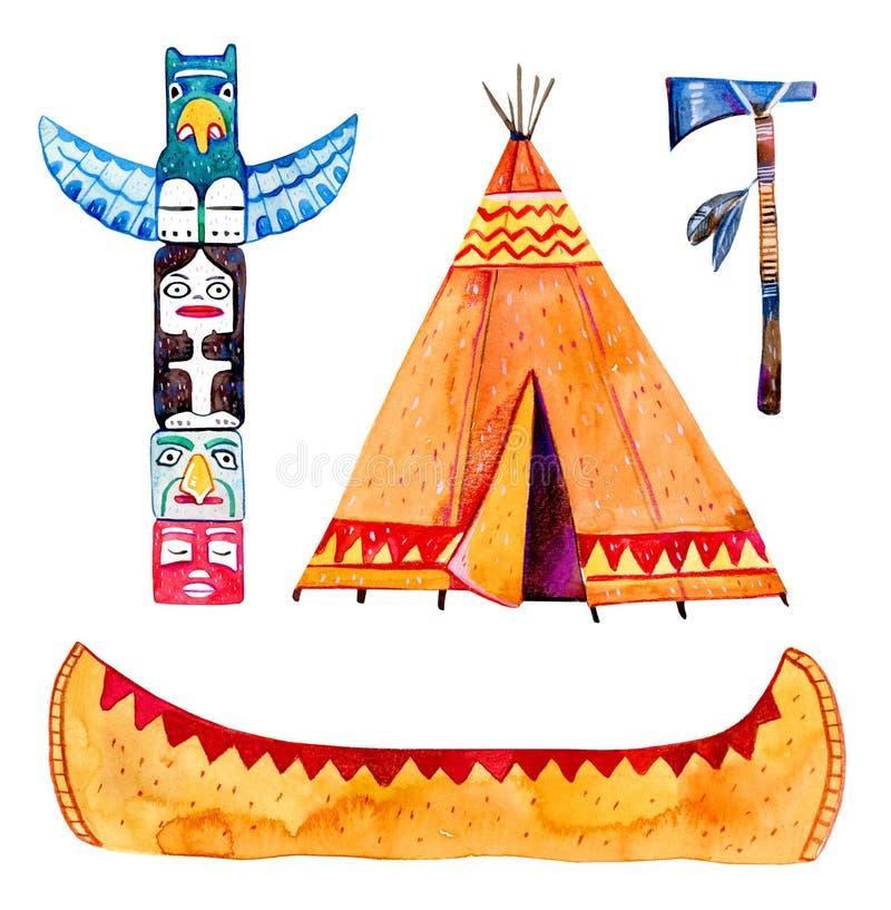Traditionelle Gegenstände der gebürtigen Indianer Wigwam, Totempfahl, Kanu, Kriegsbeil Hand gezeichneter Aquarellillustrationssat stock abbildung