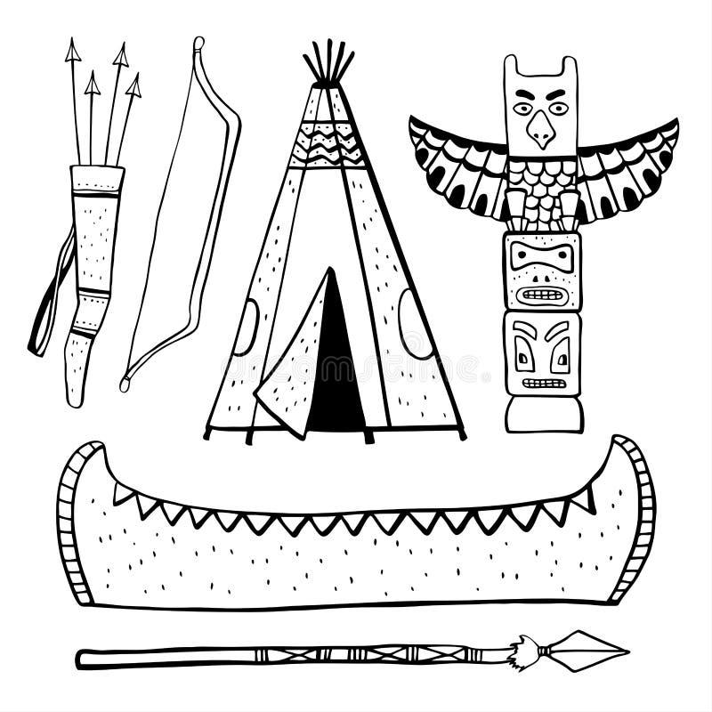 Traditionelle Gegenstände der gebürtigen Indianer Wigwam, Totempfahl, Kanu Vektorhandgezogener Entwurfsskizzen-Illustrationssatz vektor abbildung