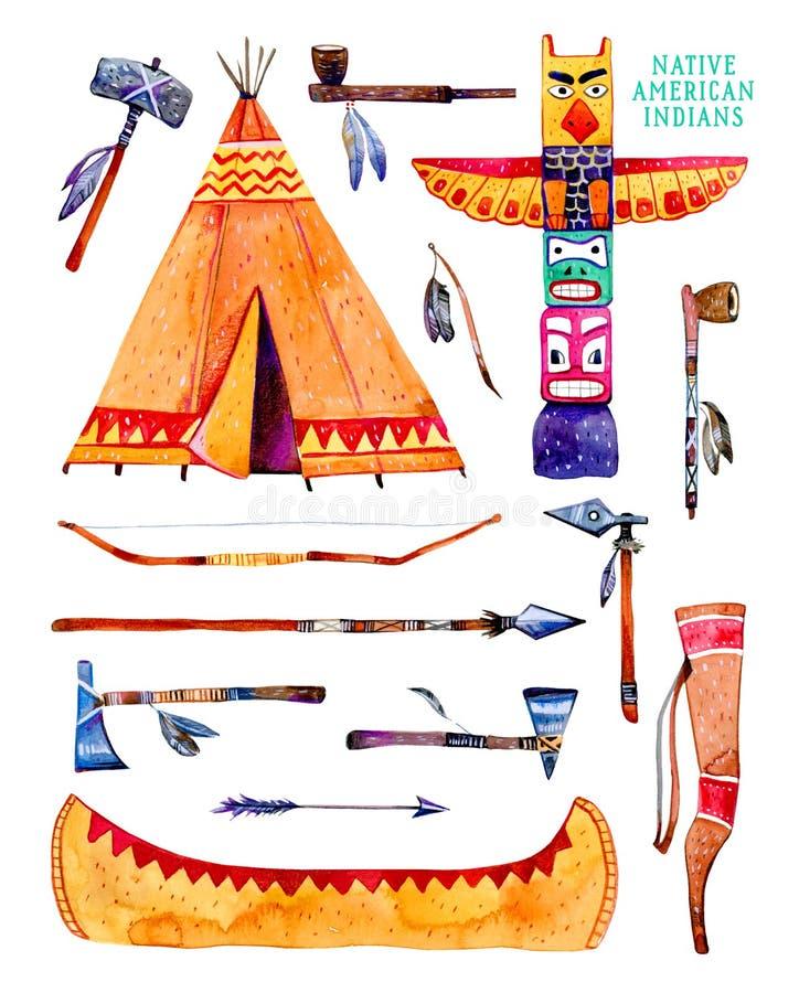 Traditionelle Gegenstände der gebürtigen Indianer Wigwam, Totempfahl, Kanu, Waffen Hand gezeichneter Aquarellillustrationssatz lizenzfreie abbildung