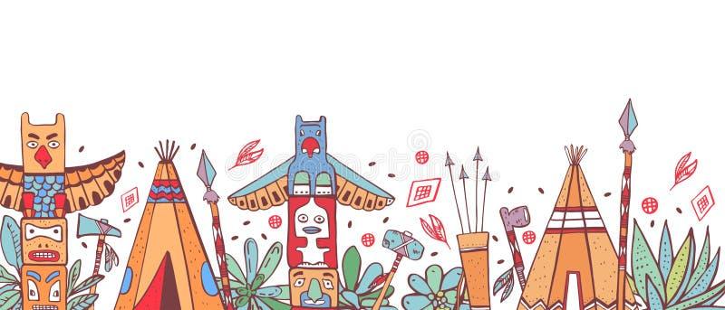 Traditionelle Gegenstände des amerikanischen Ureinwohners in Folge Wigwame, Totempfähle, Kakteen, Waffen Farbvektorentwurfs-Skizz vektor abbildung