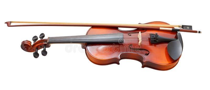Traditionelle hölzerne Geige mit Franzosebogen stockbilder