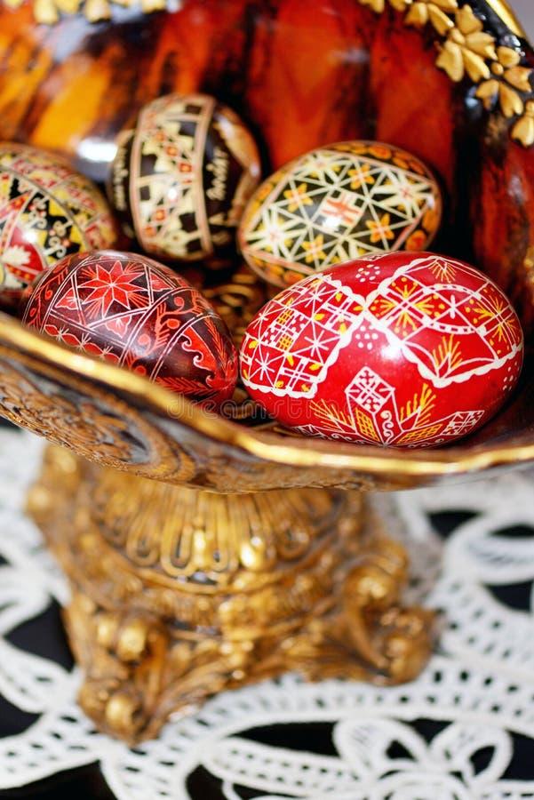 Traditionelle handgemalte Ostereier stockfotografie