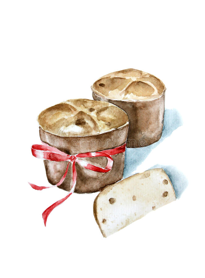 Traditionelle italienische Bäckerei der Aquarellillustration vektor abbildung