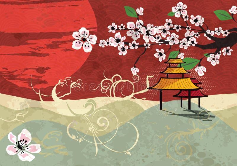 Traditionelle japanische landschaft vektor abbildung for Traditionelle japanische architektur