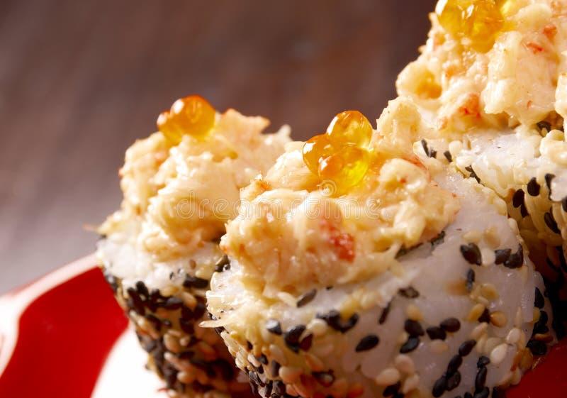 Traditionelle japanische Nahrung der japanischen Sushi. lizenzfreies stockfoto