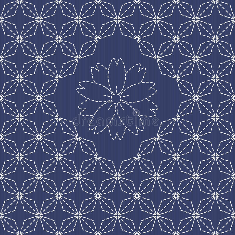 Traditionelle japanische Stickerei-Verzierung mit Rauten und Kirschblüte blühen lizenzfreie abbildung